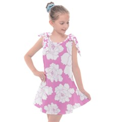 Beauty Flower Floral Pink Kids  Tie Up Tunic Dress