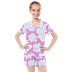 Beauty Flower Floral Pink Kids  Mesh Tee And Shorts Set