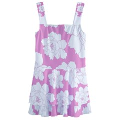 Beauty Flower Floral Pink Kids  Layered Skirt Swimsuit