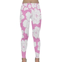 Beauty Flower Floral Pink Lightweight Velour Classic Yoga Leggings