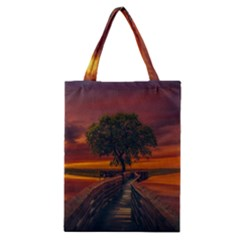 Wonderful Fantasy Sunset Wallpaper Tree Classic Tote Bag by Alisyart