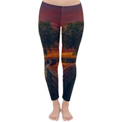 Wonderful Fantasy Sunset Wallpaper Tree Classic Winter Leggings