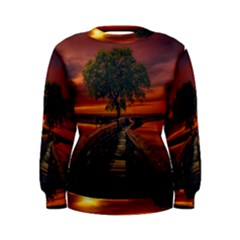 Wonderful Fantasy Sunset Wallpaper Tree Women s Sweatshirt