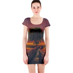 Wonderful Fantasy Sunset Wallpaper Tree Short Sleeve Bodycon Dress