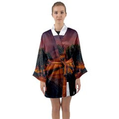 Wonderful Fantasy Sunset Wallpaper Tree Long Sleeve Kimono Robe