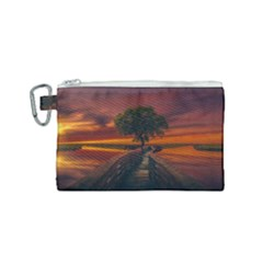 Wonderful Fantasy Sunset Wallpaper Tree Canvas Cosmetic Bag (small)