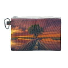 Wonderful Fantasy Sunset Wallpaper Tree Canvas Cosmetic Bag (large)