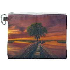 Wonderful Fantasy Sunset Wallpaper Tree Canvas Cosmetic Bag (xxl)