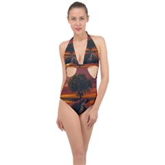 Wonderful Fantasy Sunset Wallpaper Tree Halter Front Plunge Swimsuit