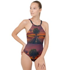 Wonderful Fantasy Sunset Wallpaper Tree High Neck One Piece Swimsuit
