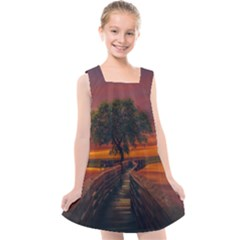 Wonderful Fantasy Sunset Wallpaper Tree Kids  Cross Back Dress