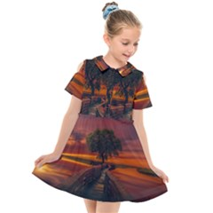 Wonderful Fantasy Sunset Wallpaper Tree Kids  Short Sleeve Shirt Dress