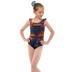 Wonderful Fantasy Sunset Wallpaper Tree Kids  Frill Swimsuit
