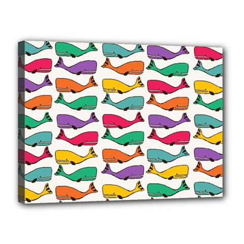 Fish Whale Cute Animals Canvas 16  X 12  (stretched)