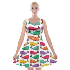 efec92a65d8f Fish Whale Cute Animals Velvet Skater Dress