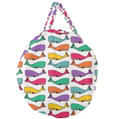Fish Whale Cute Animals Giant Round Zipper Tote by Alisyart