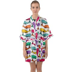 Fish Whale Cute Animals Quarter Sleeve Kimono Robe