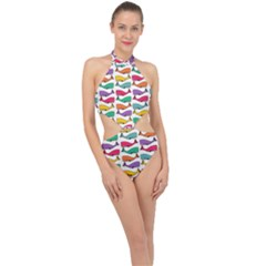 Fish Whale Cute Animals Halter Side Cut Swimsuit