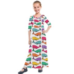 Fish Whale Cute Animals Kids  Quarter Sleeve Maxi Dress