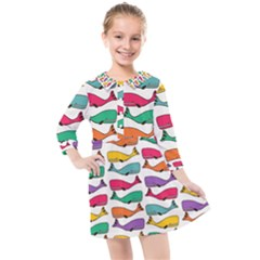 Fish Whale Cute Animals Kids  Quarter Sleeve Shirt Dress