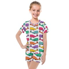 Fish Whale Cute Animals Kids  Mesh Tee And Shorts Set