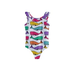 Fish Whale Cute Animals Kids  Frill Swimsuit