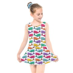 Fish Whale Cute Animals Kids  Skater Dress Swimsuit