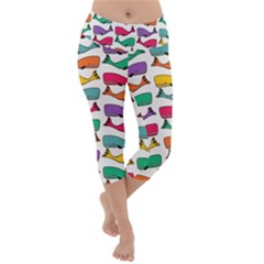 Fish Whale Cute Animals Lightweight Velour Capri Yoga Leggings