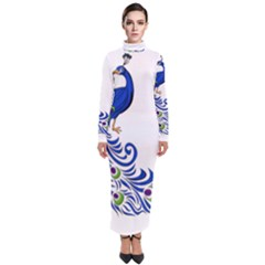 Venus Peacock Turtleneck Maxi Dress
