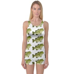 Green Small Fish Water One Piece Boyleg Swimsuit