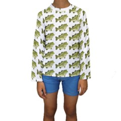 Green Small Fish Water Kids  Long Sleeve Swimwear