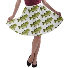 Green Small Fish Water A Line Skater Skirt