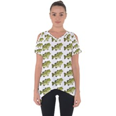 Green Small Fish Water Cut Out Side Drop Tee