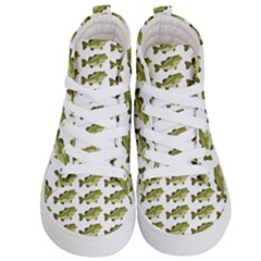 Green Small Fish Water Kid s Hi Top Skate Sneakers