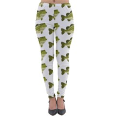 Green Small Fish Water Lightweight Velour Leggings