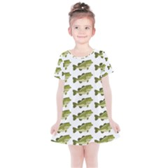 Green Small Fish Water Kids  Simple Cotton Dress