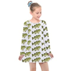 Green Small Fish Water Kids  Long Sleeve Dress