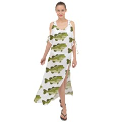 Green Small Fish Water Maxi Chiffon Cover Up Dress