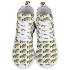 Green Small Fish Water Women s Lightweight High Top Sneakers
