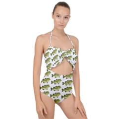 Green Small Fish Water Scallop Top Cut Out Swimsuit