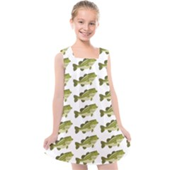Green Small Fish Water Kids  Cross Back Dress