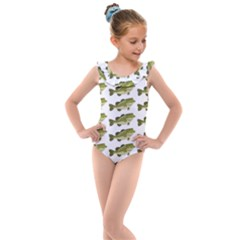 Green Small Fish Water Kids  Frill Swimsuit