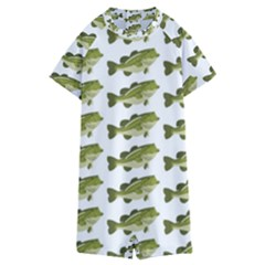 Green Small Fish Water Kids  Boyleg Half Suit Swimwear