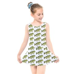 Green Small Fish Water Kids  Skater Dress Swimsuit