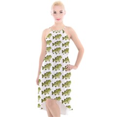 Green Small Fish Water High Low Halter Chiffon Dress