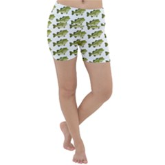 Green Small Fish Water Lightweight Velour Yoga Shorts