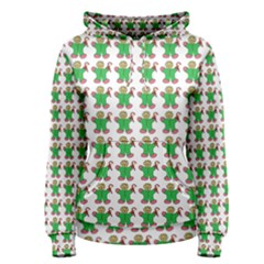 Gingerbread Men Seamless Green Background Women s Pullover Hoodie