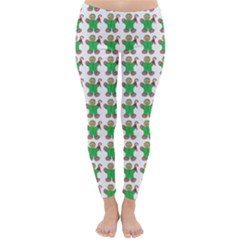 Gingerbread Men Seamless Green Background Classic Winter Leggings