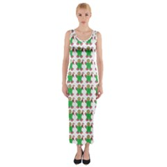 Gingerbread Men Seamless Green Background Fitted Maxi Dress by Alisyart
