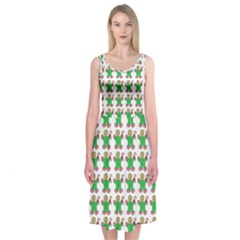 Gingerbread Men Seamless Green Background Midi Sleeveless Dress